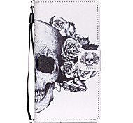 Flower Skull Pattern PU Leather Case for Huawei P8 Lite