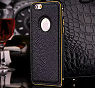 Luxury  Litchi Genuine Leather Case for iPhone 6 4.7 Metal TPU Integrated Frame Case for Apple iPhone 6/6S