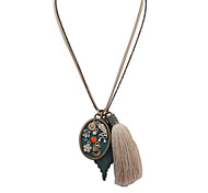 European Style Retro Fashion Oval Pendant Digital Necklace