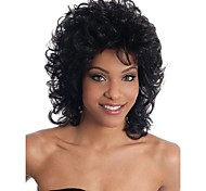 lady Middle Curly Wigs Black Color Synthetic Hair Wigs
