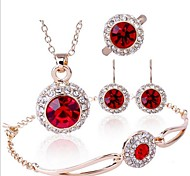 High Quality Crystal Round Shape Jewelry Set Necklace Earring Bracelet (Assorted Color)