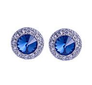 Fashion Crystal Gem Drill Silver Plating Earrings