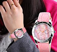 Mulheres Relógio de Moda Quartz Couro Banda Branco / Azul / Rosa marca-