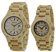 Herren Damen Unisex Armbanduhr Uhr Holz Quartz Japanischer Quartz Holz Band Vintage Luxuriös Beige Beige