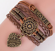 Multilayer LOVE Heart Peandant Weave Bracelet,Brown