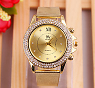 Woman's Watches Fashion Exquisite Series Gold With Diamond Dial Strap Watch