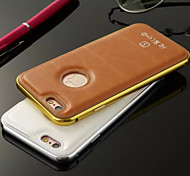HZBYC®Luxury Leather Lines Genuine Leather Metal TPU Integrated Frame Case for Apple iPhone 5/5S