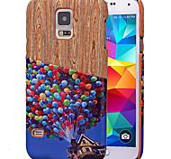 karzea ™ padrão balão colorido pu couro caso tampa traseira com suporte de cartão para Samsung S5 (i9600) / s5mini / S4 (i9500)