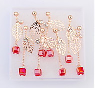 Fashion Long Leaf Pendant Earrings (Box Of Four Pairs)