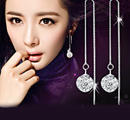 Drop Earrings Imitation Diamond Fashion Elegant Silver Sterling Silver Crystal Imitation Diamond Ball Silver Jewelry ForWedding Party