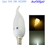 1PCS YouOKLight® E14 3W CRI=70 180lm 6-SMD2835 Warm White Light Cool White Light LED Candle Bulbs(AC 220V)