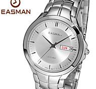 easman mens Date Jour calendrier spectacle saphir inoxydable poignet quartz en acier montres de montre résistant à l'eau pour les hommes