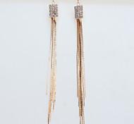 Girl's Square Diamond Tassel Earrings