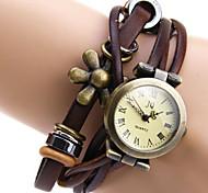 JQ Vintage Style Leather Band Flower Round Dial Female Quartz Wrist Watch Cool Watches Unique Watches