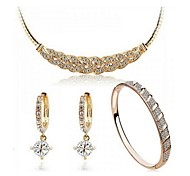 High Quality Crystal Zircon Pendant Jewelry Set Necklace Earring (Assorted Color)