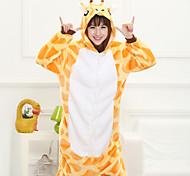 Nette orange Giraffe Erwachsene Coral Fleece Kigurumi Pyjamas Tiernachtwäsche