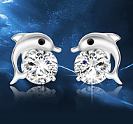 Lureme®  Korean Fashion 925  Sterling Silver Crystal  Dolphin Earrings