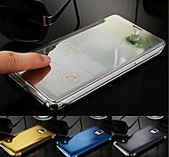 luxe slimme flip slank s-view aanraking gegalvaniseerd spiegel harde helder transparant case cover voor Samsung Galaxy Note 4 5 7