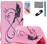 Coco fun® rosa padrão de vida do amor estojo de couro pu com cabo usb v8, flim, caneta e stand para Samsung Galaxy S6