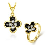 Fashion Diamond Flower Jewelry Gold-Plating Twinset(Gold,Rose Gold,White)(2pcs)