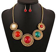 May Polly  European retro Crystal Gem Diamond Necklace Earrings Set