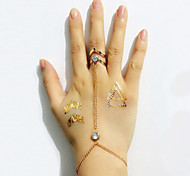 Lady's Fashion  Hollow Word V Alloy Midi  Bracelets With Rings