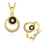 Fashion Diamond Circle Jewelry Gold-Plating Twinset(Gold,Rose Gold,White)(2pcs)