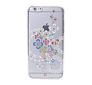 Latest Colorful Flowers Pattern Swarovski Diamond High Quality Laser Relief Touch Phone Case for iPhone 6plus / 6S plus