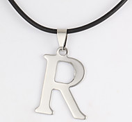Fashion Alphabet R Shape Silver Stainless Steel Pendant Necklace(1 Pc)