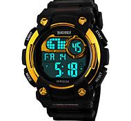 Masculino Relógio Esportivo Relógio de Pulso Digital LED Calendário Cronógrafo Impermeável alarme Relógio Esportivo PU Banda PretaPreto