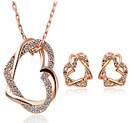 Niedlich / Party / Büro-Damen-Halskette / Ohrring(Rose Gold überzogen / Zirkonia)