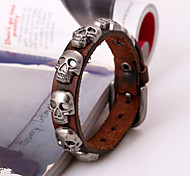 Fashion Men's Skeleton Buttons Leather Band Bracelets