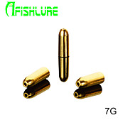 Afishlure Bullet Type Pure Copper Fishing Weights Fishing Accessaries Lure Copper Pendant Fishing Sinkers 7g 6pcs/lot