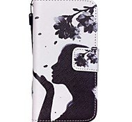 The New Beauty Petal Pattern Lanyard PU Leather Material Flip Card Cell Phone Case for iPhone 5 /5S