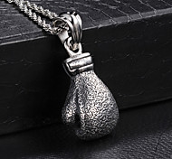Fashion Men's Pitting Corrosion Boxing Glove 316L Stainless Steel Pendant Necklace