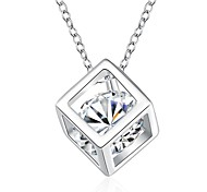 Fasion Elegant Generous Zircon Cube Silver-Plated Pendant Necklace(White)(1PC)