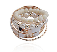 Fashion  Bead Pear Double Lock Tophus  Alloy Bracelet(6 Pairs Per Set)