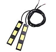 2Pcs 9CM 6W COB 3 LED Car Daytime Running Light Bar DRL Driving Lamp(DC12V)