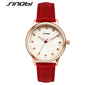 SINOBI Women's Fashion Watch Calendar Water Resistant / Water Proof Quartz Leather Band Elegant Red