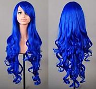 cheveux de la mode du parti perruques synthétiques bon marché bleu perruque cosplay 80 cm
