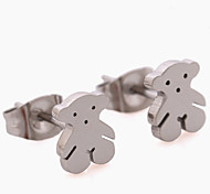 Fashionable Top Silver Plated Animal Bear Stainless Steel Stud Earring(1Pair)