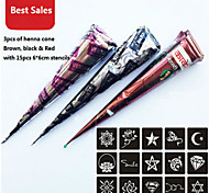 3 Piece Henna Cones Red Brown Black + 15 Stencils Temporary Tattoo Kit Body Art Mehandi Ink