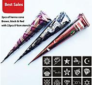3 pezzo coni henné rosso nero marrone + 15 stampini temporaneo kit tatuaggio inchiostro body art mehandi