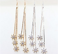 New Arrival Fashional Rhinestone Flower Tassel Earrings