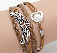 Multilayer Love Heart & Peace Weave Bracelet,Brown