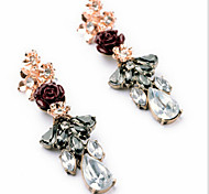 New Arrival Fashional Gem Crystal Rose Earrings