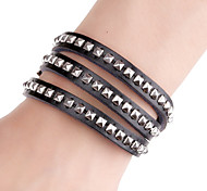 Square Rivet Long Band Cutting Leather Bracelets