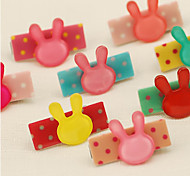 Set of 2 Candy Girl Sweet Style Rabbit Shape Hair Barrette Hair Jewelry (Random Color)