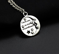 Women's Fashion Carved The Letters I Love You Moon Pendant Necklace 1pc
