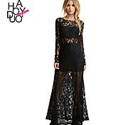 Haoduoyi Women's Deep V Long Sleeve Maxi Dress - 15151F336
